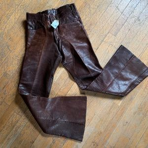Vintage distressed leather bell bottoms